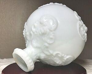 Antique-Victorian-Embossed-Round-White-Milk-Glass-Barber-Bottle-Decanter-6-5-034