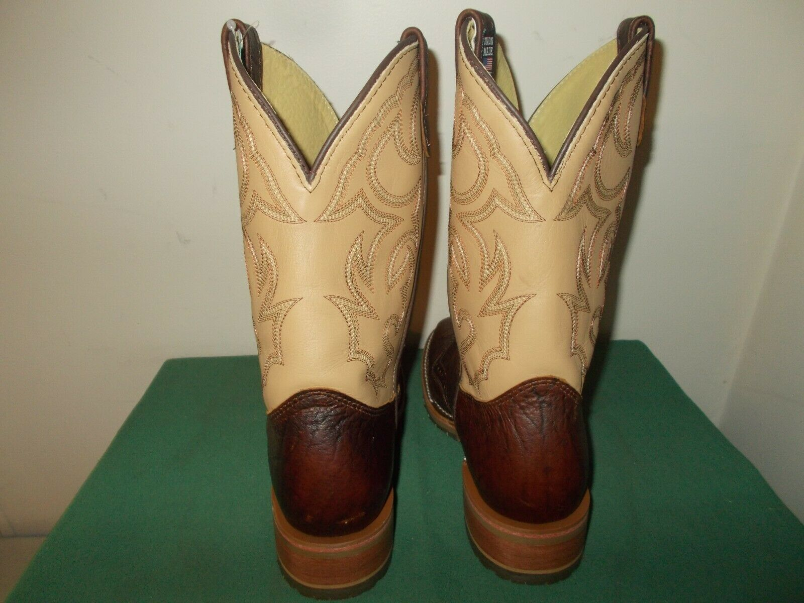 Mens 11.5 D Square Toe Bison ICE Roper Work Western Cowboy Boots New USA Leather