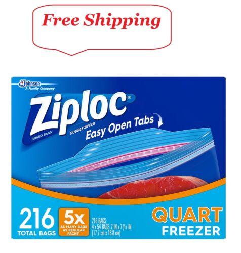 Ziploc Easy Open Tabs Freezer Quart Bags 216 ct.