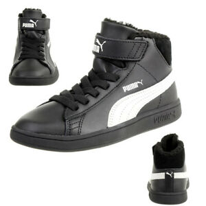 Details about Puma Smash V2 mid L fur V Ps Winter Boots Children's Sneakers Warm Lining