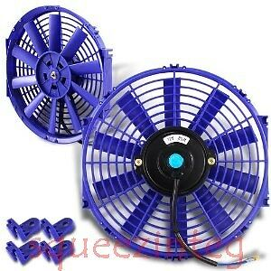 "BLUE 12/"" SLIM FAN MAZDA ROTARY PUSH PULL ELECTRIC RADIATOR COOLING 12V 1730 CFM"