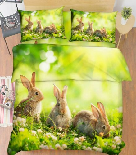 3D Grass Rabbit 676 Bed Pillowcases Quilt Duvet Cover Set Single King UK Lemon