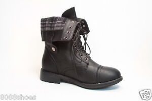 Women-039-s-Round-Toe-Combat-Military-Lace-Up-Buckle-Mid-Calf-Boot-Shoe-Size-5-5-11