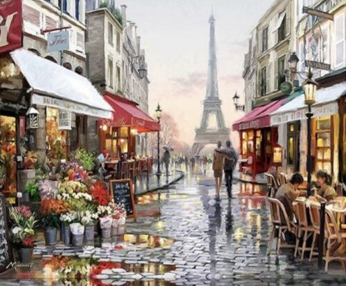 The Paris Stroll USA DIY Paint by Number Kit Acrylic Painting Home Decor