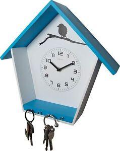 Reloj-de-Pared-Moderno-Uhr-Vestibulo-Pasillo-Madera-Blanco-con-Llavero