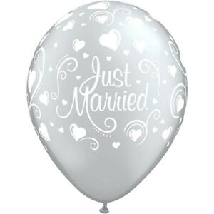 Silver-Just-Married-latex-balloons-x-5