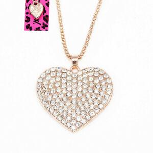 Betsey-Johnson-Crystal-Rhinestone-Love-Heart-Pendant-Sweater-Chain-Necklace