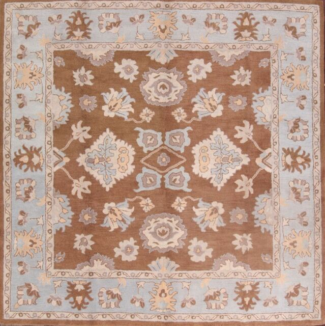 Hand Tufted Clic Fl Brown Square 10x10 Oushak Agra Oriental Area Rug