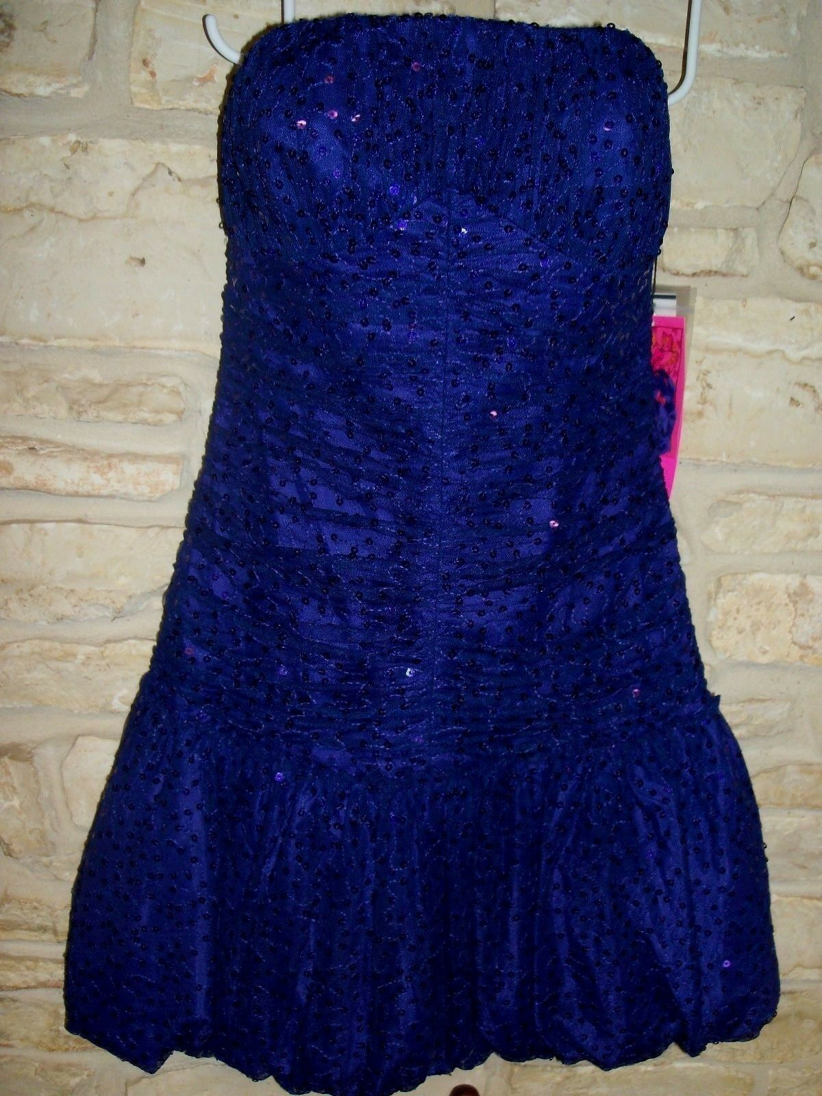 BETSEY JOHNSON lila SEQUINS & LACE STRAPLESS SHORT RUCHED FORMAL PROM DRESS
