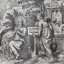 Conversación de Jesús con la samariterin a Jakobs pozo san mateo Merian 1625