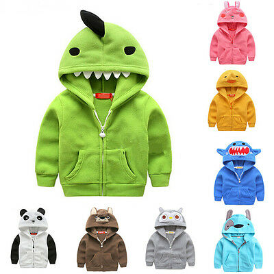 Baby Kid Toddler Boy Girl Animal Hoodie Hooded Jumper Outfit Outwear Jacket Coat