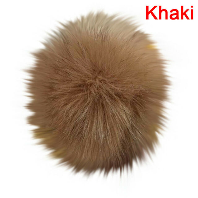 b90e8cb6619 1x Faux Fox Fur Pompom With Press Fake Fur Hat Bubble Removable ...