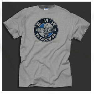 Men-039-s-BMW-Air-Cooled-Motorcycles-Boxer-Beemers-Airheads-Print-Grey-T-Shirt