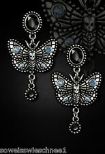 Silver Steampunk Motten Ohrringe Gothic Lolita Moths Earrings Studs Vintage WGT