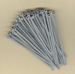"100 4"" Inch Long 18# Pound GRAY GREY NYLON Cable Ties Zip Ty Wraps MADE IN USA"