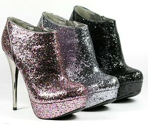 d1773682d28e Image is loading Glitter-High-Stiletto-Heel-Platform-Ankle-Bootie-Boot-