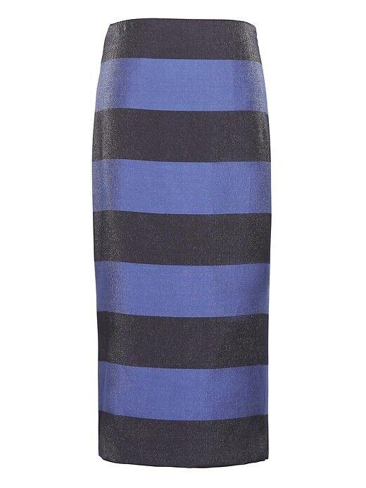 Banana Republic Women Skirt 2 4 6 8 Pencil Navy bluee Rugby Striped Side Slit New