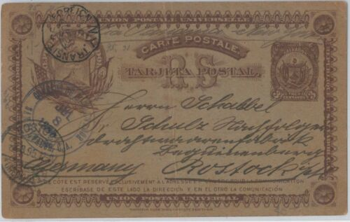 51066 EL SALVADOR POSTAL HISTORY POSTAL STATIONERY CARD to GERMANY 1895