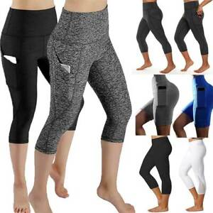 Women-039-s-High-Waist-Yoga-Pants-Pocket-Gym-Fitness-Sports-Capri-Leggings-Workout