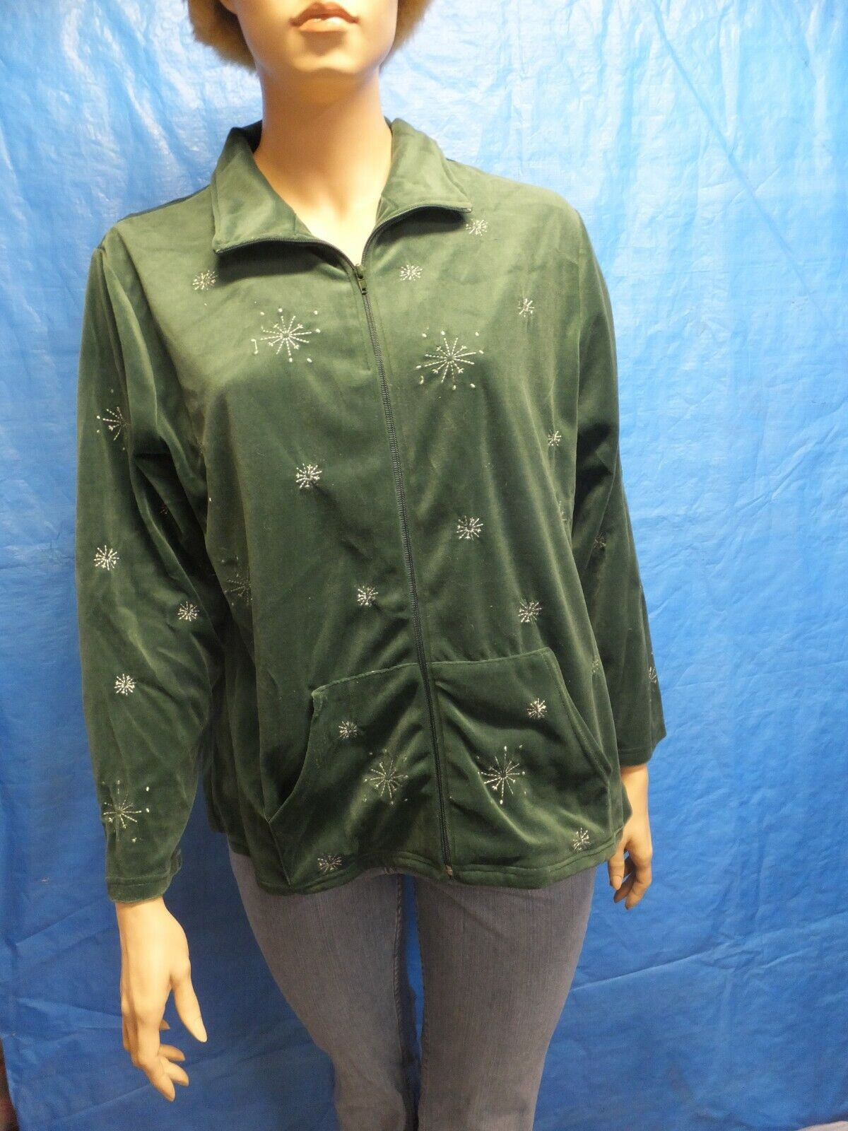 Seventh Avenue Women's Green with Snow flakes Long sleeve Zip Up Jacket Size 2XL