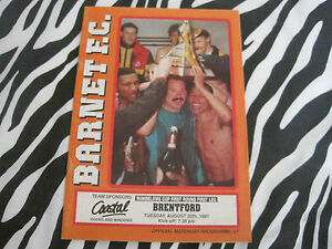 football programme  Barnet v brentford  tues 20th aug 1991 - <span itemprop=availableAtOrFrom>aberdeen, Aberdeen City, United Kingdom</span> - football programme  Barnet v brentford  tues 20th aug 1991 - aberdeen, Aberdeen City, United Kingdom