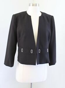 NWT White House Black Market Black Cropped 3/4 Sleeve Grommet Blazer Jacket 10