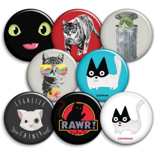 Catnip 25mm 1 inch Cat Badges Rawr Choice of Button Badges Black Cat