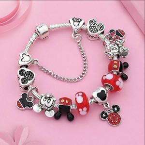 2018 Winter Release 925 Sterling Silver Dis Mickey /& Minnie Open Bangle Bracelet Fit DIY Jewelry European Charm Beads