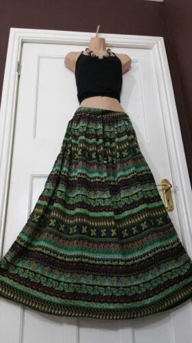 Ladies Full Length Boho Hippie Aztec Printed colorful Skirt Holidayf frsz 8-16