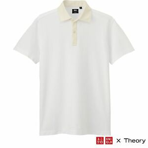 a76a99aa Details about THEORY x UNIQLO 'Cleric' Dry Pique Short Sleeve Polo Shirt  Men's M White **NWT**