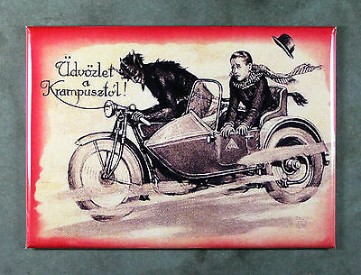 KRAMPUS Fridge Magnet - Motorcycle Ride Teufel Krampusnacht 3.5 x 2.5 inches
