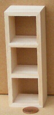 1:12 Scale Natural Finish Wooden 4 Cube Storage Unit Tumdee Dolls House Shelves