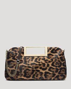e3fc6c130a60 NWT Michael Kors Berkley Leopard-Print Clutch in leather+calf hair w ...