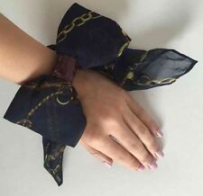 New Japan Navy Blue Chiffon Large Bow Scarf Style Chains Print Hair Tie Hairband