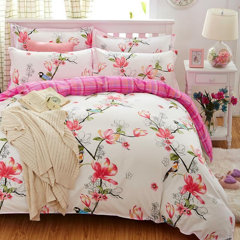 Bedding Set Flower Printed Bed Linens 4pcs 5pcs Sets Queen Größe Duvet Covers New