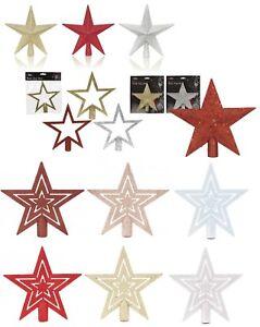 20cm-Top-Albero-stella-glitter-rosso-oro-argento-albero-di-Natale-topper-Decorazione-Natale