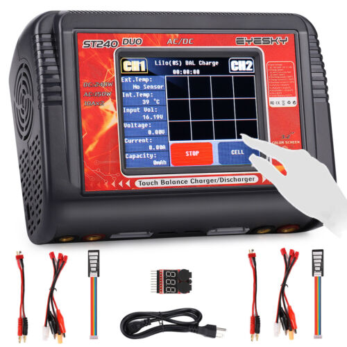 EYESKY ST240 DUO AC//DC Touch Screen Dual Channel Battery Balance Charger