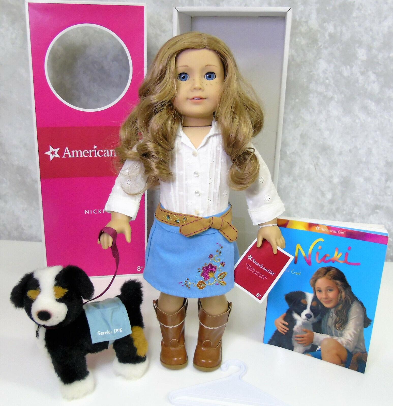American Girl 18  Muñeca Nicki en traje de perro de servicio + Piñón satisfacer libro Etiqueta caja