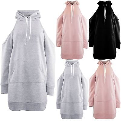 Womens Ladies Hooded Hoody Cold Cut Out Shoulder Pockets Long Sweatshirt Dress Ohne RüCkgabe