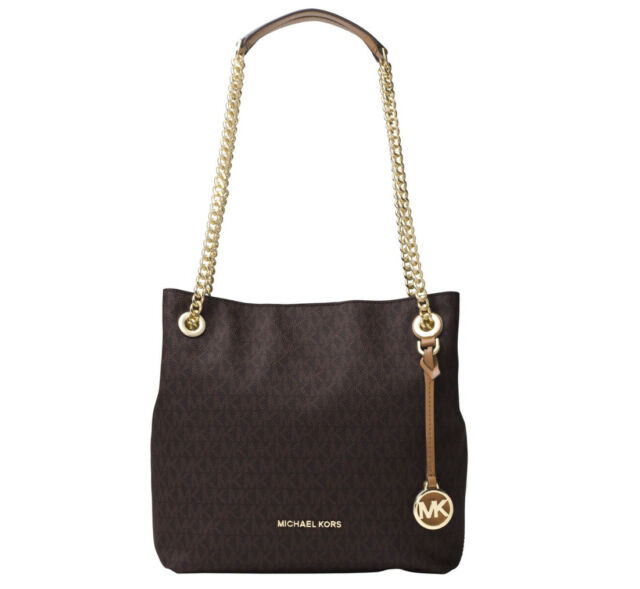 29b68feecfd8 Michael Kors Jet Set Chain Medium MK Signature Shoulder Tote, Brown, $298,  NEW
