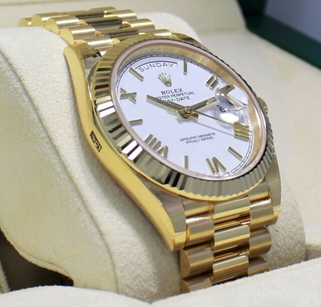 Rolex President Day Date 40mm 228238 18k Yellow Gold White Roman Dial Watch New