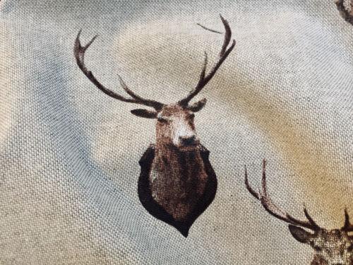 Rideau Matière Coton Noël Orignal Élan 140cm Large Tête de Cerf Cerf Tissu