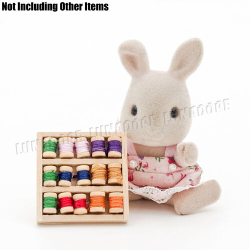 Sewing Supply Box with Threaded Spools Miniature Dollhouse Toy Figure Accessory