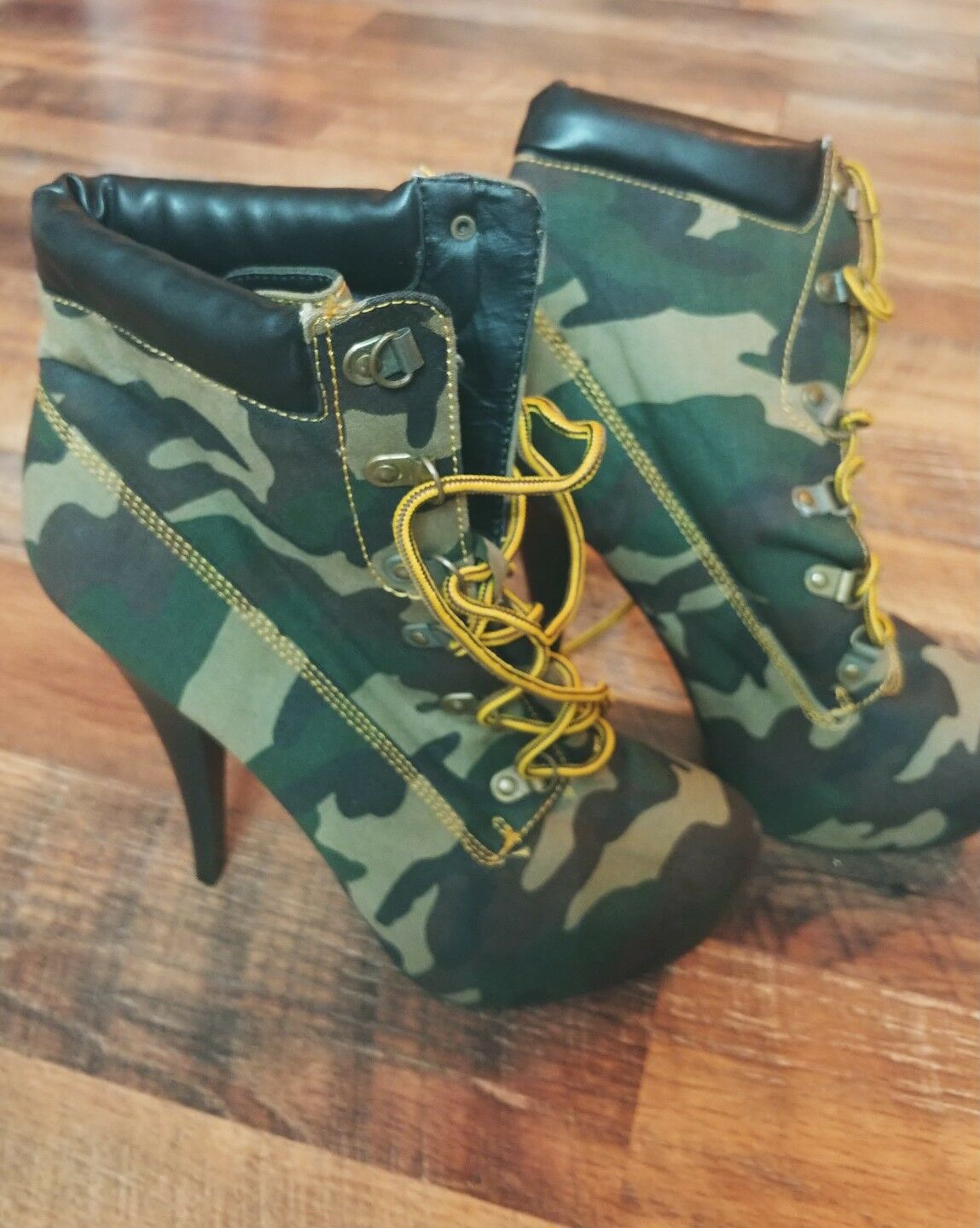 Military Army Womens Ankle Boots High Heels Platform Lace Up camo Fashion Ladies