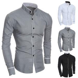 3b68935e3 Luxury Men's Stylish Casual Dress Shirt Slim Fit T-Shirt Long Sleeve ...