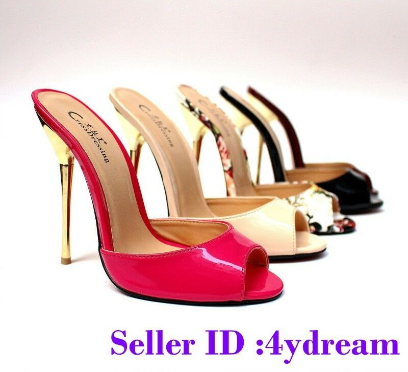 Donna  Mules Peep Toe Clubwear Metal High High High Heels scarpe Stilettos Slippers SZ48 53b9eb