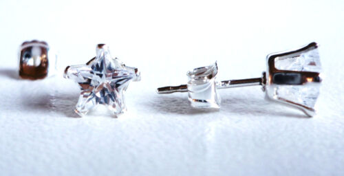 925 STERLING SILVER STUD EARRINGS 5MM STAR CREATED CLEAR STONE s861