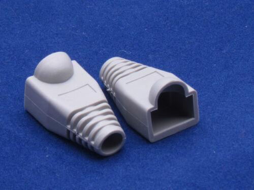 Lot 50 X Gray RJ45 Connector Cat5 Modular End Cap Boot Head Plug Cat6 Cable 5E