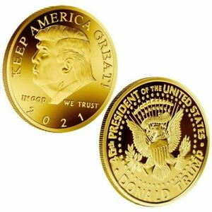 1PC 2021 President Donald Trump Gold Plated Commemorative Coin Keep America RHN