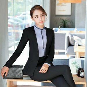 afef4b0efd1b7f Caricamento dell'immagine in corso Elegante-Tailleur-completo-donna-nero- scuro-giacca-manica-